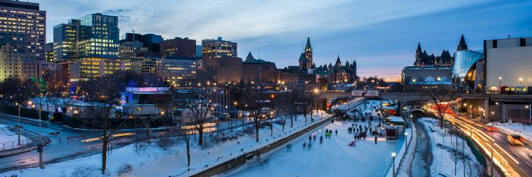 Skating on the Rideau Canal at night - Winter - Icentives
