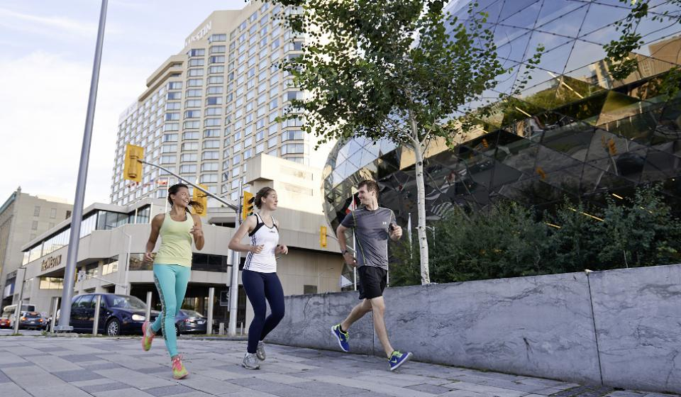 Runners along Rideau Canal and Shaw Centre