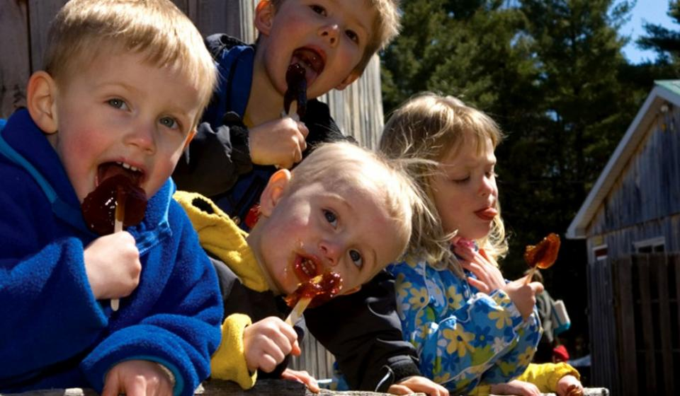 Children enjoying maple taffy at Fultons Pancake House and Sugar Bush