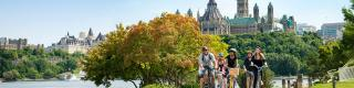 Cyclists with Parliament Hill in the background, Cycling, Fall